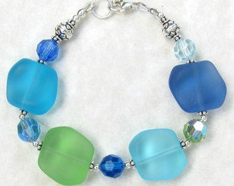 Beachy Blues and Green Sterling Silver  Bracelet