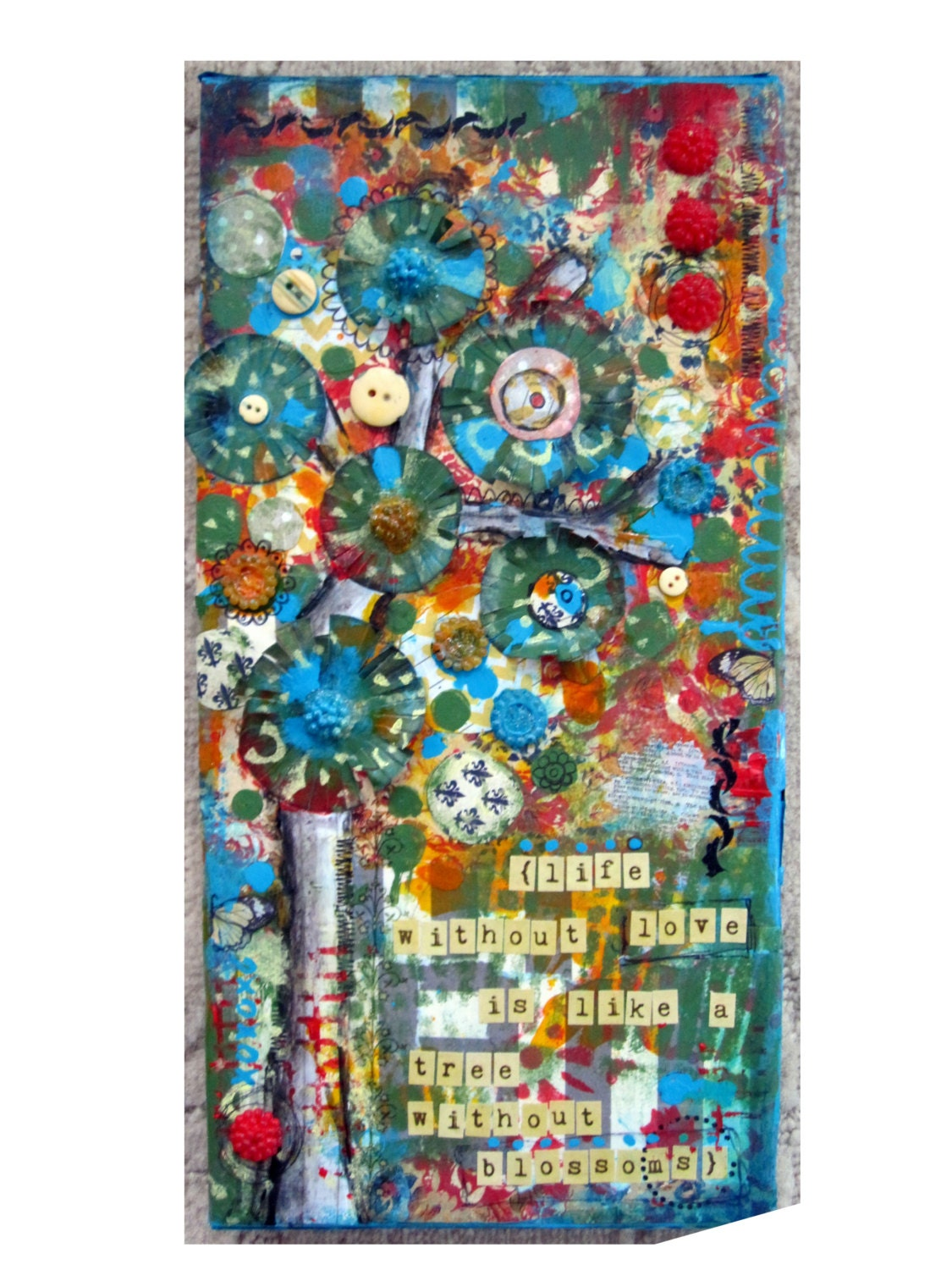 Original Mixed Media Collage Painting Love Is Like Blossoms Tree Artwork Collage Acrylic Textured Art