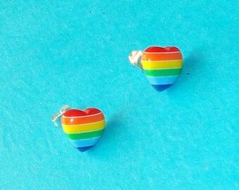 Rainbow Striped Heart Pride Retro Post Earrings