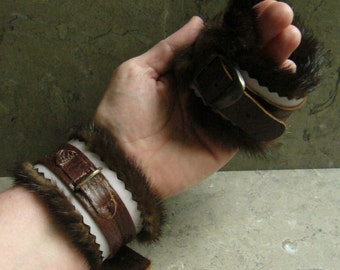 Gentle Restraint Cuff -- Leather and Real Mink
