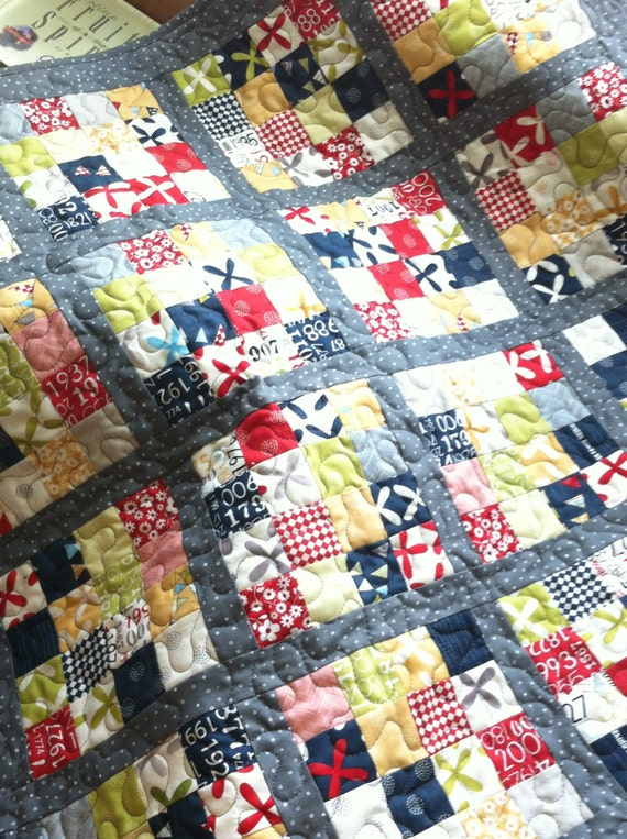Modern baby quilt - An Elephant Never Forgets