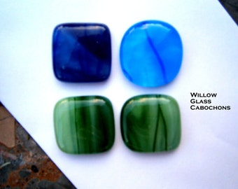 Fused Glass Cabochons, Blues and Greens 4 Glass Cabs with Stringers, Willow Glass, Glass Cabochons, Glass Cabs, DIY Jewelry Supplies