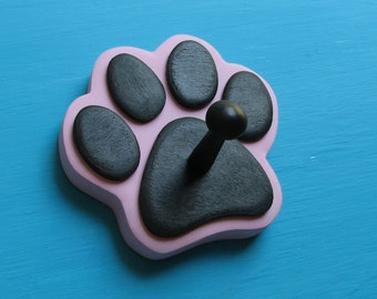 Dog Leash Holder PiNK  - Wood Paw Print Peg Hook