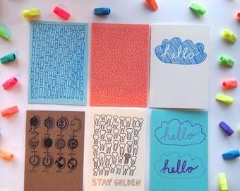 Set of Six Cards - Variety Pack  (tiny hearts, blue ribbons, hello, globes, stay gold teeth)