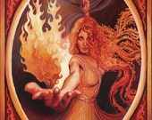 Brigid Imbolc Altar Art Celtic Goddess Inspiration ACEO Mini Print