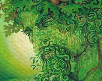 Green Man 5x7 Blank Greeting Card Fine Art Print Pagan Mythology Cernunnos Oak King Forest Goddess Art