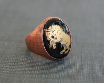 Taurus Ring / Black Cameo Ring / Zodiac / Astrology / Gift
