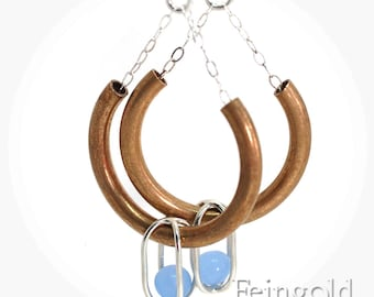Drip Drop - Brass Curve Earrings Sterling Silver with Floating Blue Gems - Something Blue - Free Domestic Shipping
