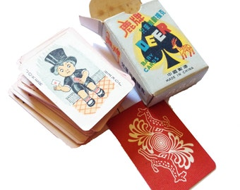 1dk TINY PLAYING CARDS 1960s Vintage Deer Baby Japan