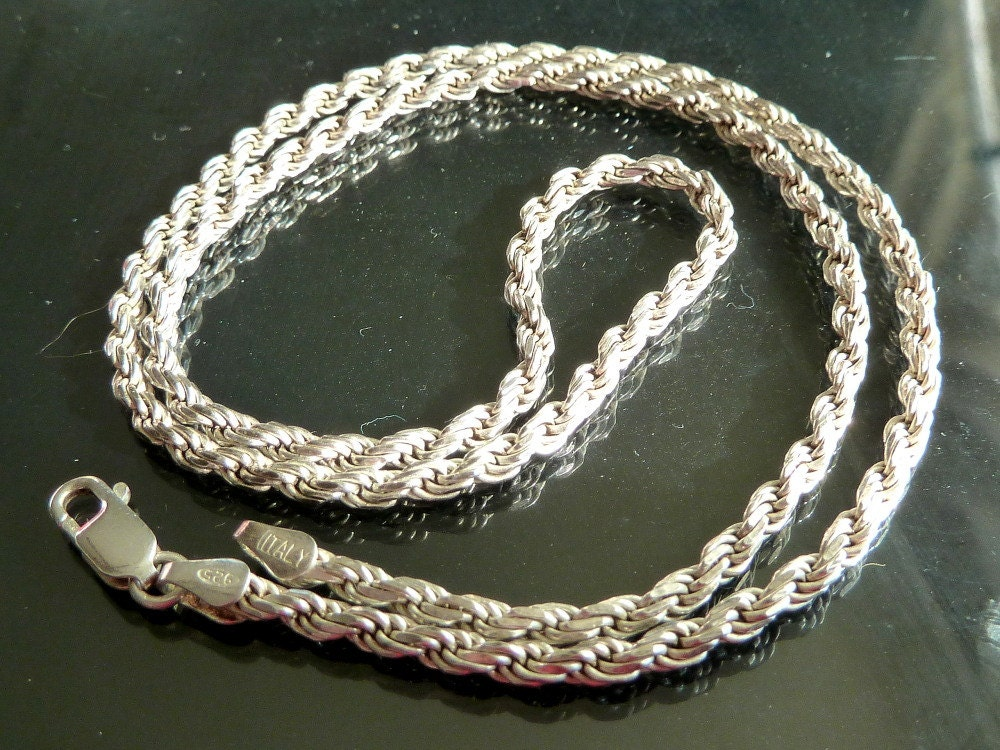 Heavy Sterling Silver Twisted Rope Chain Necklace Vintage 20