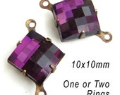 Amethyst Glass Beads,  Patina Brass Settings, 10mm x 10mm, Diamond Shape, Rhinestone Jewels, One or Two Rings, Links, Deep Purple, One Pair