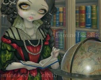I Vampiri: La Libreria vampire library librarian fairy art print by Jasmine Becket-Griffith 8x10 books rococo