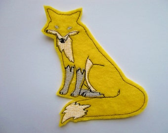 Yellow felt Fox embroidered iron on patch applique, cute patches, patches for jackets, iron on patches, forest animals