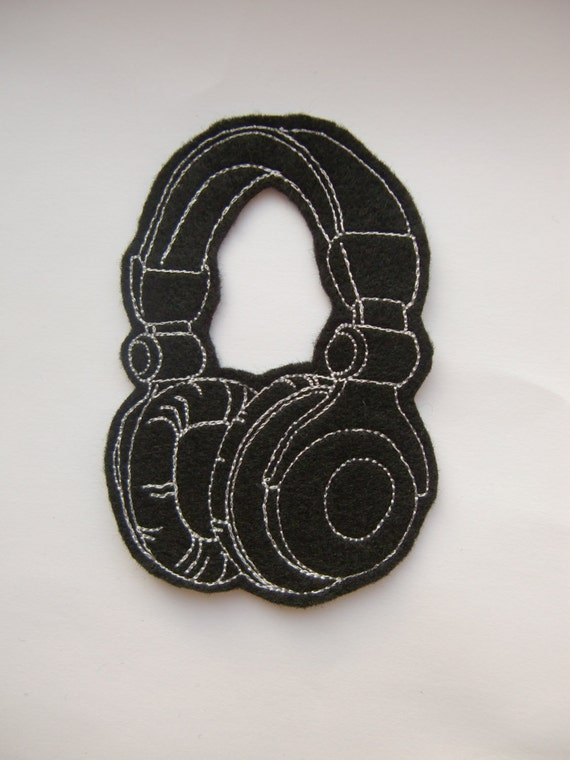 Black and white headphones iron on patch felt applique