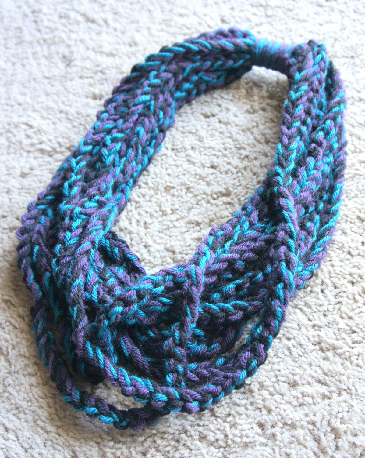 Crochet Cowl Neck Scarf Aqua Purple and Black by shiara on Etsy Cowl Neck Scarves Crochet