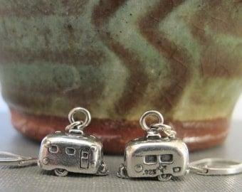 Trailer Earrings, Travel Trailer, Camping Earrings, Vacation Earrings, Sterling Silver, Silver Earrings, Dangle Earrings,