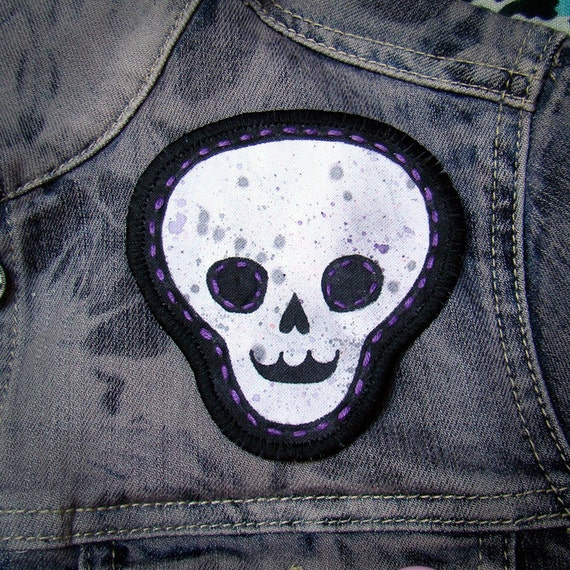 Hand Painted Fabric Patch -Grey Skull with purple spatter-