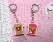 BFF PBJ: Best Friend Strawberry Peanut Butter Jelly Keychains, Best friend Keychains, Miniature Food Jewelry, Polymer Clay Food keychain