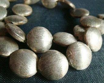 14mm Brushed Silver Plated Coin Beads - Full Strand (22pcs)