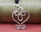 Little Celtic Heart Necklace, Sterling Silver Pendant, Celtic Necklace, Celtic Jewelry, Women, Girls Silver Heart Necklace, Celtic Knot