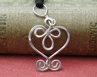 Little Celtic Heart Necklace, Sterling Silver Pendant, Celtic Necklace, Celtic Jewelry, Women, Girls Silver Heart Necklace, Celtic Knot