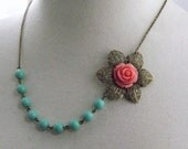 Coral and Aqua Flower Bridesmaids Wedding Necklace