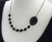 Black Flower and Brass Oval Bridesmaids Wedding Necklace