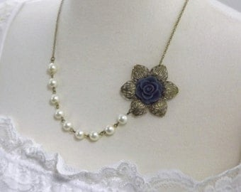Navy Blue Flower Ivory Pearl Bridesmaids Wedding Necklace