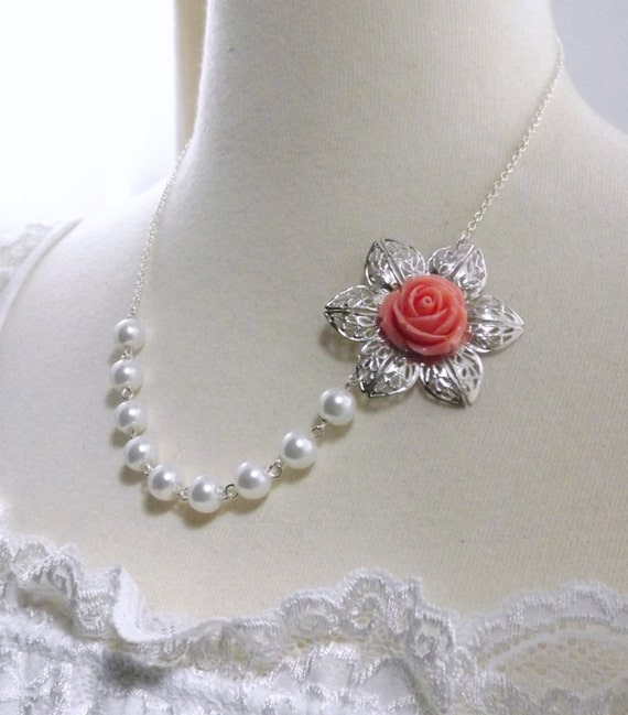 Coral Flower White Pearl and Silver Bridesmaids Wedding Necklace