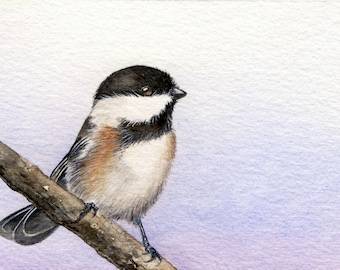 Its A New Day - Original Chickadee Watercolour Painting