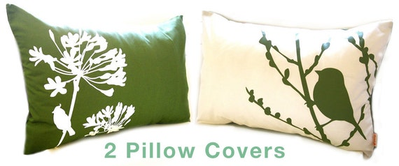 Reserved for annejeanne Two Bird Pillow Covers