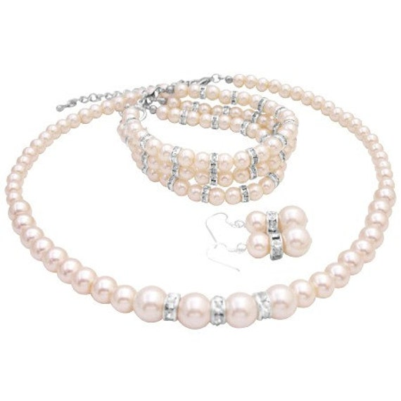 Pearls Wedding Jewelry Ivory Pearls Bridal Jewelry 3 Stranded Bracelet Free Shipping In USA
