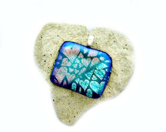 Fused Glass Jewelry / Dichroic Hearts Pendant
