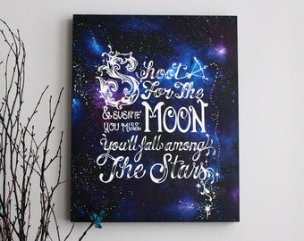 Original Shoot For The Moon Screenprint and Painting- 16 x 20 x 1.5