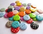 Small Polka Dot Buttons - MIXED BAG of 50
