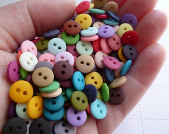 RAINBOW of Teeny Tiny Buttons MIX BAG of 225 buttons