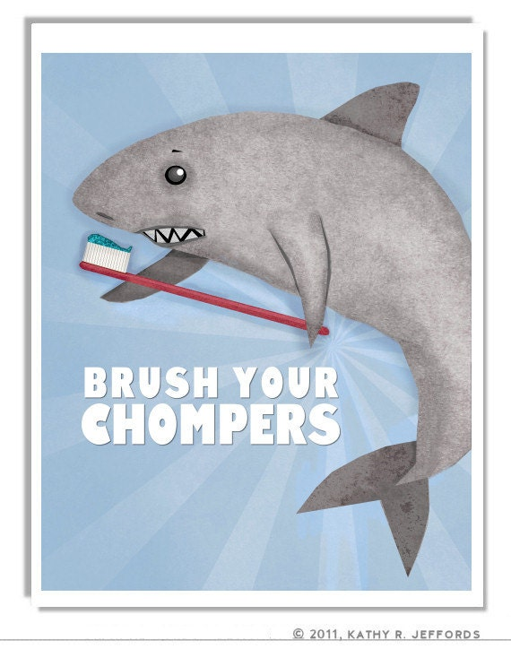 Brush your teeth brush your chompers print by thedreamygiraffe