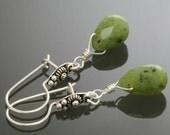 Nephrite Jade Drop Earrings. Sterling Silver. Bali Ear Wires. Genuine Jade. s13e028