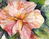 Original Watercolor Hibiscus Painting, Hibiscus Art, Hibiscus Decor, Pink Hibiscus