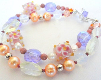 Double Stranded Pastel Colored Beaded Bracelet