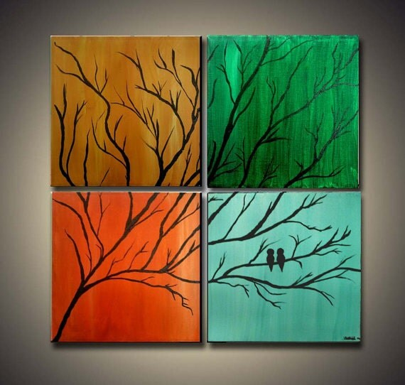 1/2 Price Original Trees and Birds Abstract Paintings on  Gallery Wrapped Canvas 20X20  (4) 10 X 10 Better Together