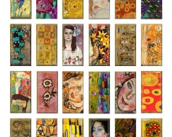 Klimt Clips Domino - 1x2 - Digital Collage Sheet - Instant Download