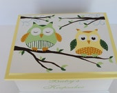 Baby Keepsake Box yellow and green owls personalized memory box neutral personalized hand painted baby gift
