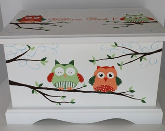 Owl Baby Keepsake Chest Memory Box personalized baby gift hand painted