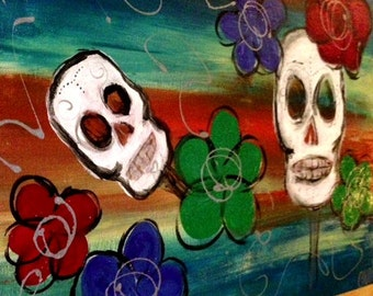 Original Large Skull Painting on Canvas - Flowers Colorful Day of the Dead
