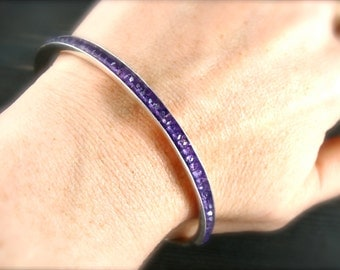 skinny amethyst ... gemstone stackable bangle ... February birthstone