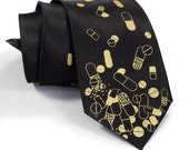 """Pill necktie, men's silk tie. """"Pill Spill."""" Gold capsule & tablet silkscreen print. Perfect for doctors and pharmacists."""