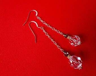 CRYSTAL BALL Long bridal crystal earrings. Long Crystal Ball Earrings. Swarovski Crystal Wedding Earrings. Vintage Style Bridal Jewelry.