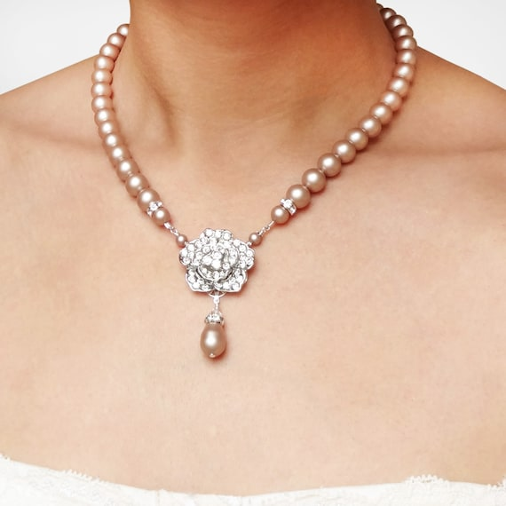 Items similar to champagne pearl bridal necklace vintage for Jewelry for champagne wedding dress