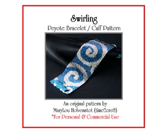 Peyote Bracelet Pattern ... SWIRLING ... Swirly . Waves . Spirals . Wide Cuff . Bold Design . Tutorial . Two Color . 3 for 2